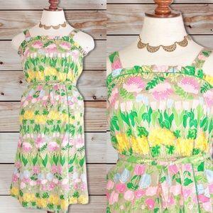 VTG 70s 80s Sun Dress Size 5 6 Floral Tulips
